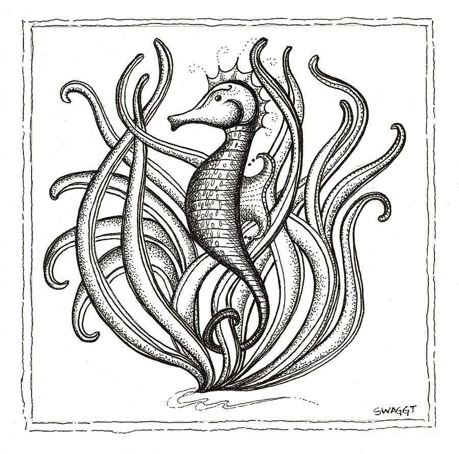Coastal Art Drawing - Seahorse by Stephanie Troxell