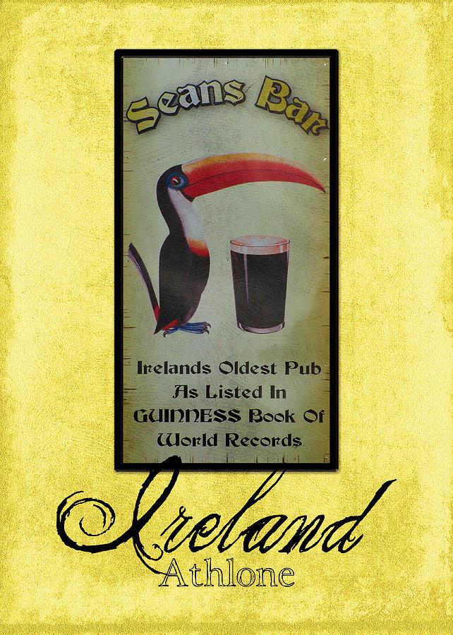 Irish Photograph - Seans Bar Guinness Pub Sign Athlone Ireland by Teresa Mucha
