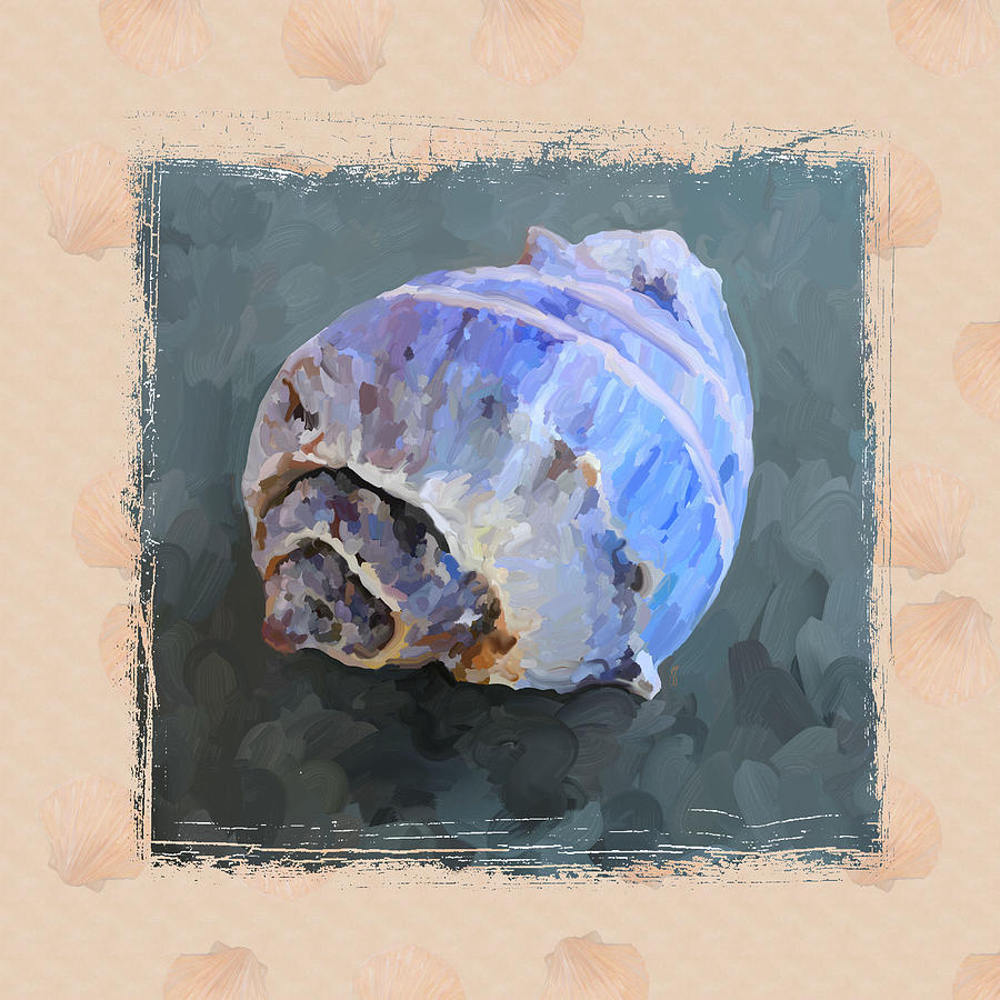 Sea Shell Painting - Seashell IIi Grunge With Border by Jai Johnson