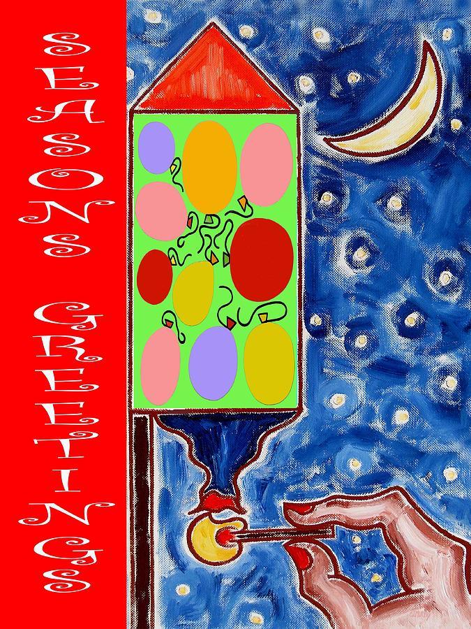 Fireworks Painting - Seasons Greetings 60 by Patrick J Murphy