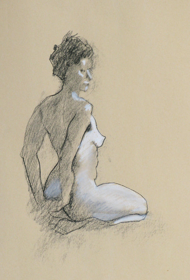 Nude Drawing - Seated Nude by Robert Bissett