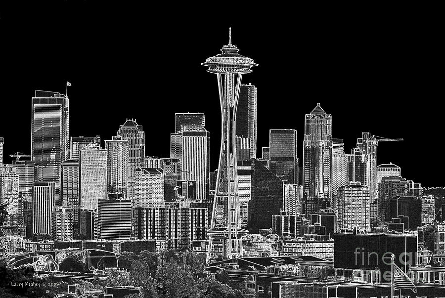 Black And White Photograph - Seattle Black And White by Larry Keahey