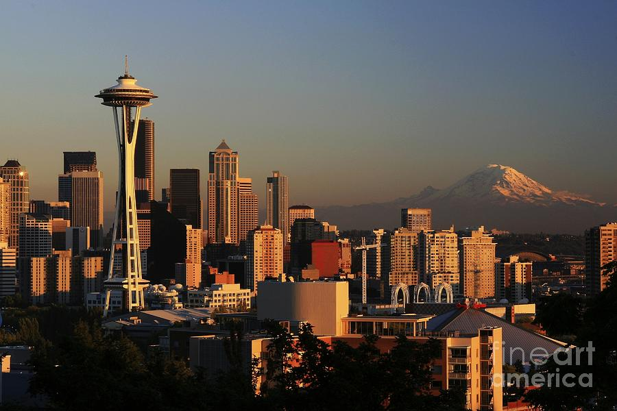 Seattle Sunset Cityscape Evening City Rainier Photograph - Seattle Equinox by Winston Rockwell