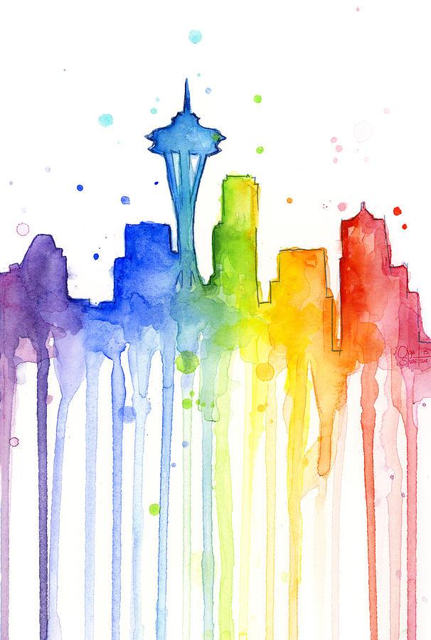 Seattle Rainbow Watercolor Painting By Olga Shvartsur