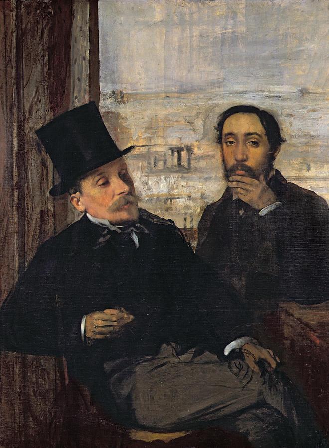 Self Portrait With Evariste De Valernes (1816-96) C.1865 (oil On Canvas) By Edgar Degas (1834-1917) Painting - Self Portrait With Evariste De Valernes by Edgar Degas