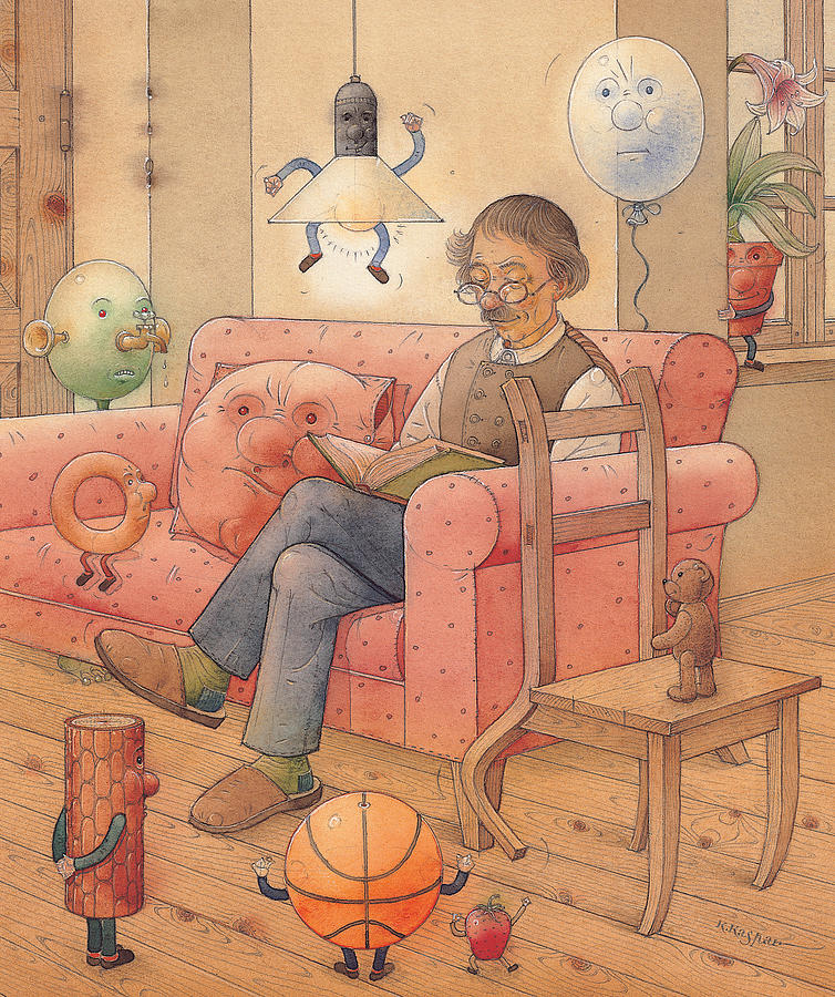 Brown Home Chair Sofa Dinning Room Painting - Self-portrait With My Things by Kestutis Kasparavicius