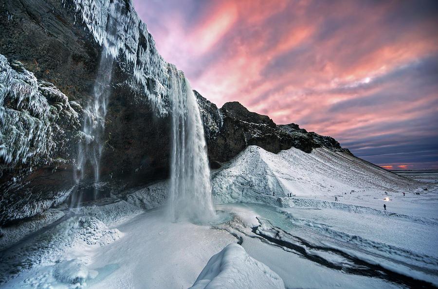 Horizontal Photograph - Seljalandsfoss Sunset by Traumlichtfabrik