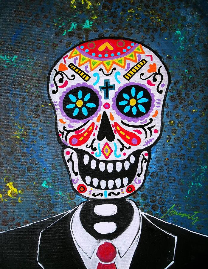 Dia De Los Muertos Painting - Senyor by Pristine Cartera Turkus