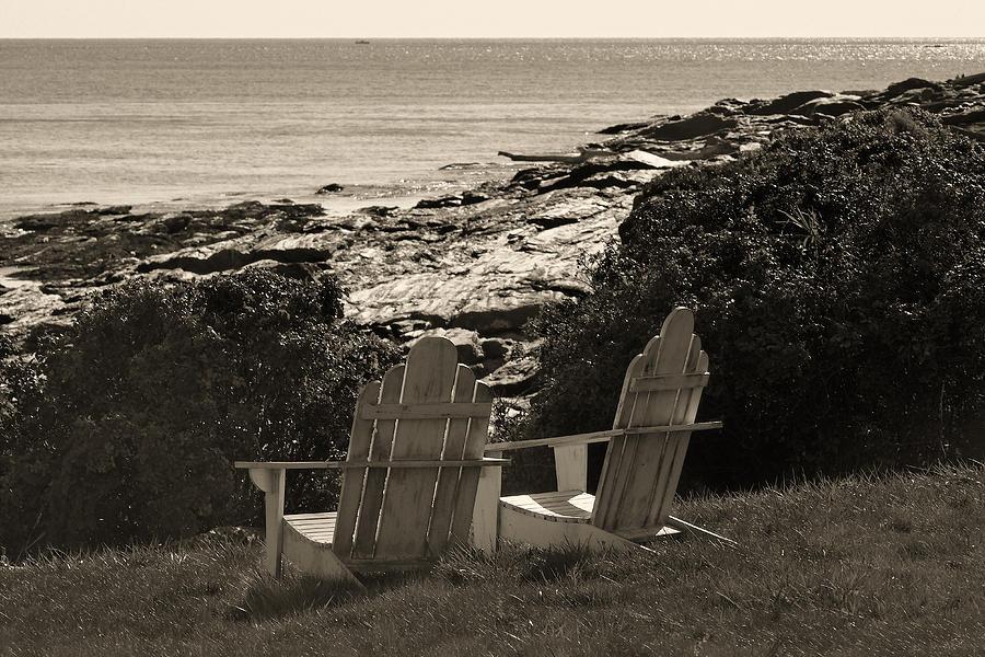 Chairs Photograph - Sepia Seaside Retreat by Lone  Dakota Photography