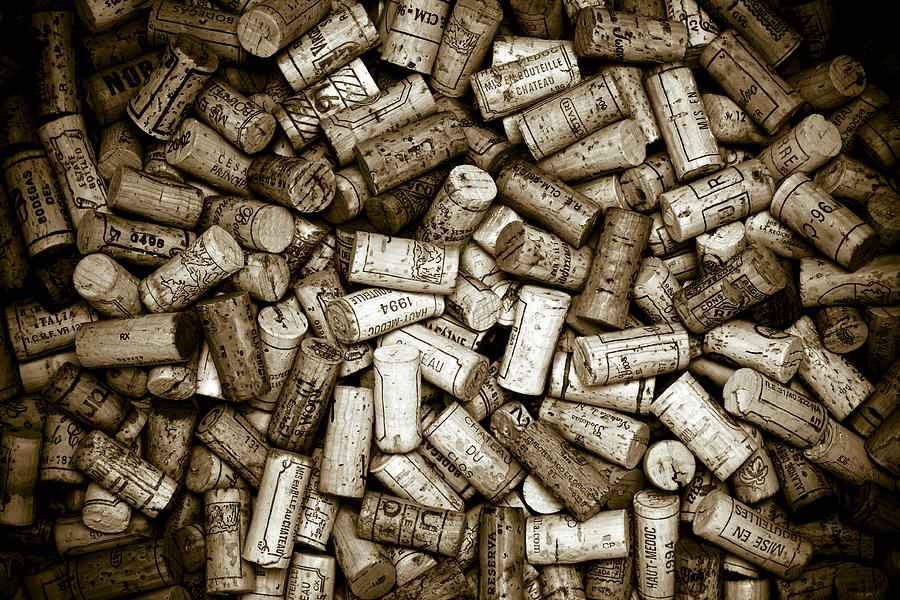 Sepia Wine Corks Photograph