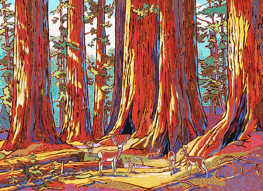 Sequoia Trees Painting - Sequoia Deer by Nadi Spencer