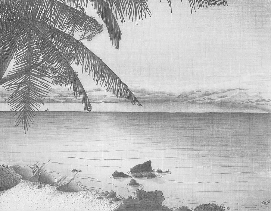 how to draw sea of clouds with sunset in pencil