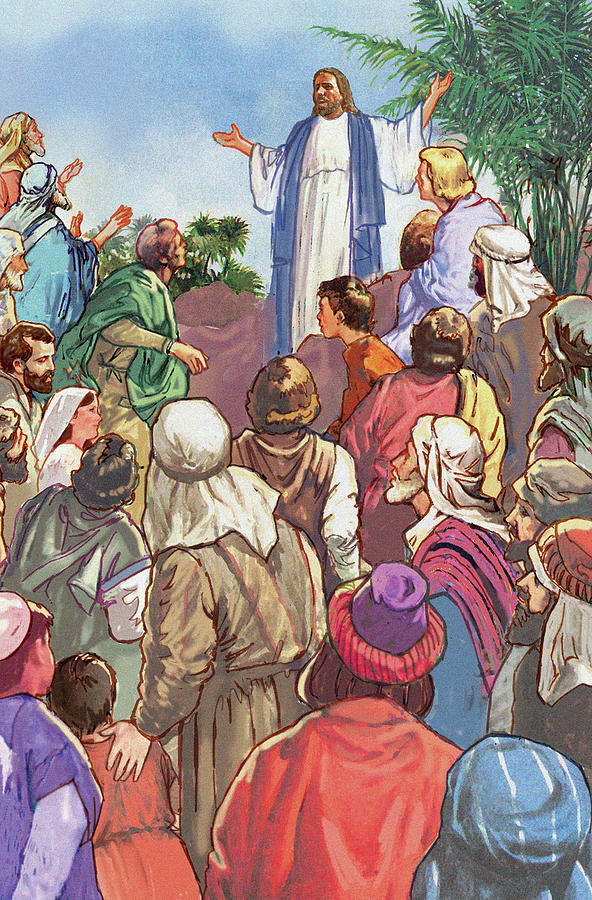 Easter Painting - Sermon On The Mount by Valer Ian