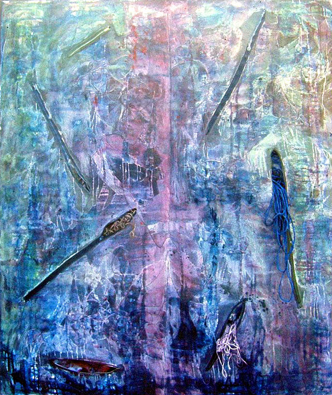 Abstract Painting - Seven Zippers by Nancy Mueller