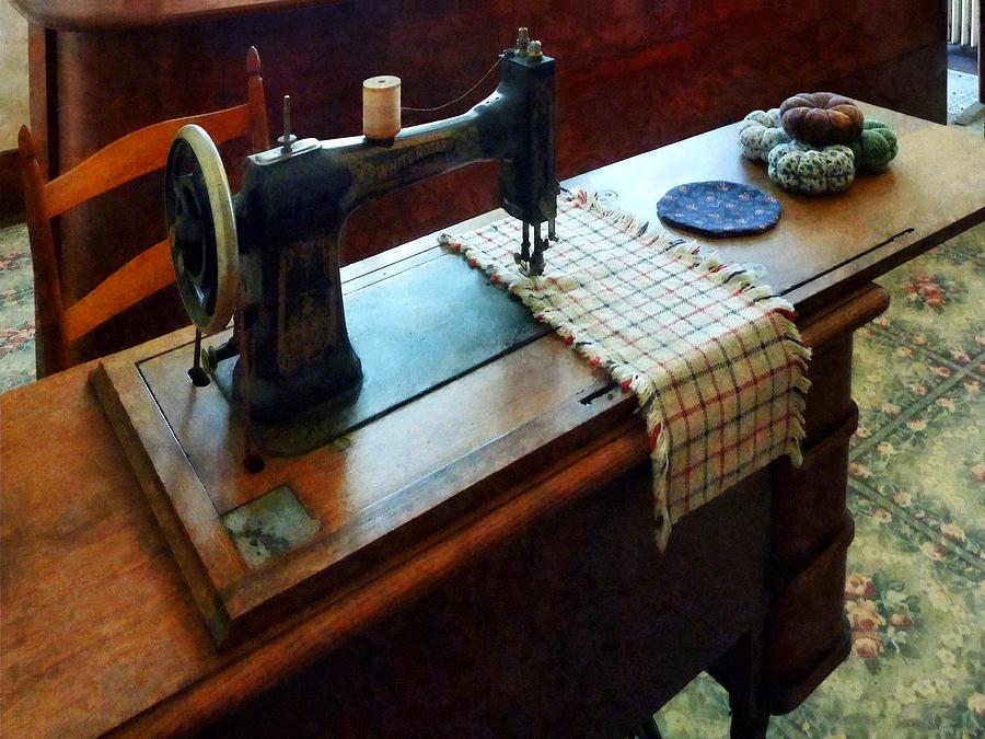 Sewing Machine Photograph - Sewing Machine And Pincushions by Susan Savad