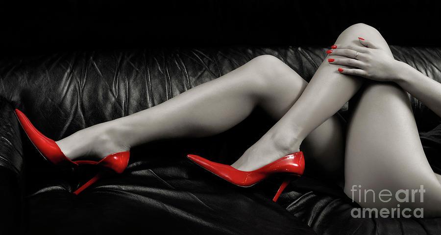 Legs Photograph - Sexy Woman Legs In Red High Heels by Oleksiy Maksymenko
