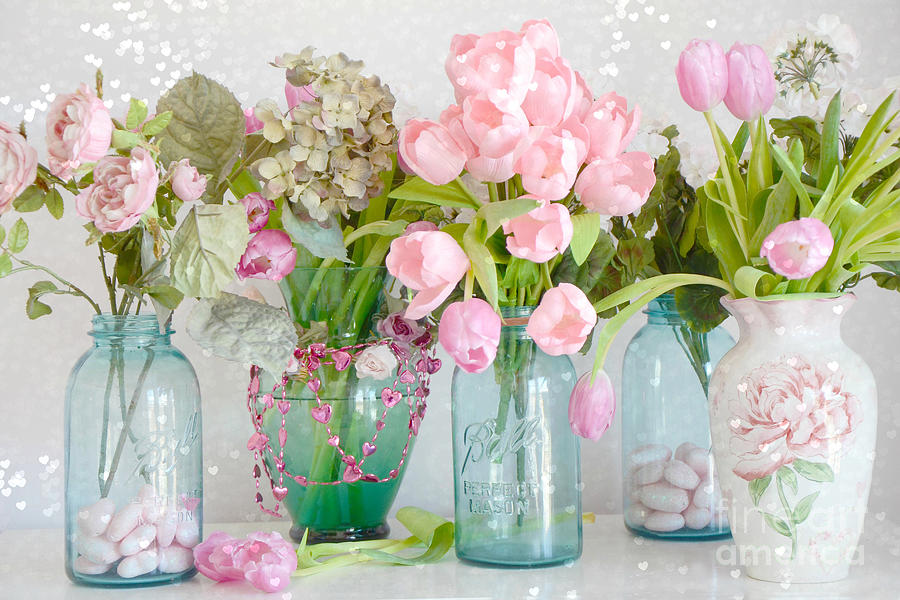 shabby chic cottage ball jars and tulips floral photography mason ball jars floral photography. Black Bedroom Furniture Sets. Home Design Ideas