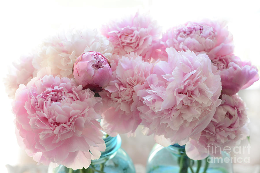 Shabby Chic Romantic Pink Peonies In Aqua Mason Jars