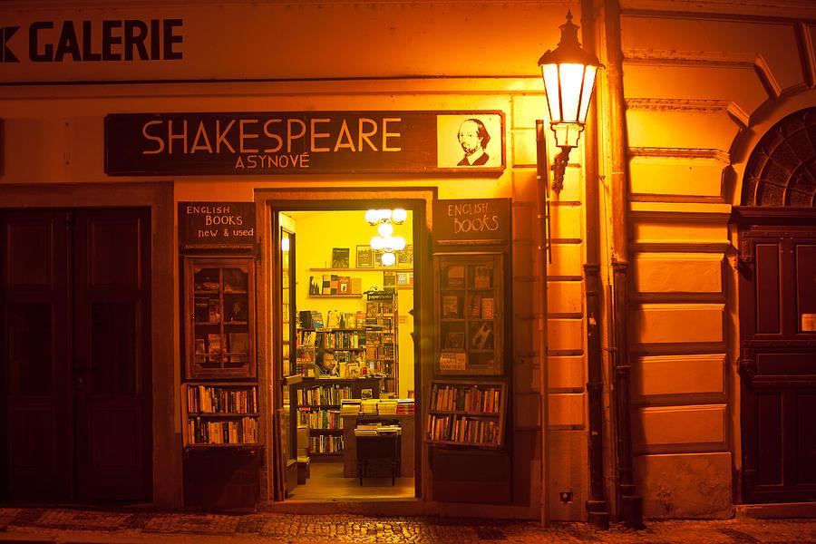 Prague Photograph - Shakespeares Bookstore-prague by John Galbo
