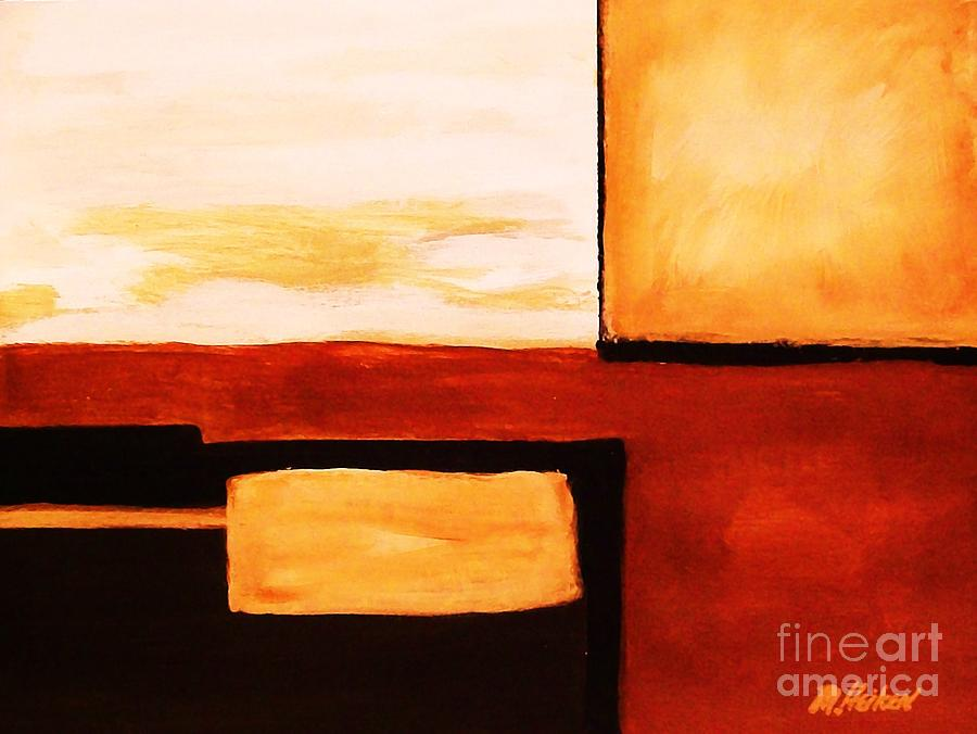 Shaped Abstract Red Tone L Painting