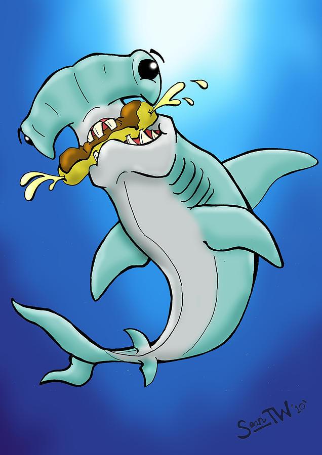 Sharks Digital Art - Sharks That Eat Cake Hammerhead by Sean Williamson