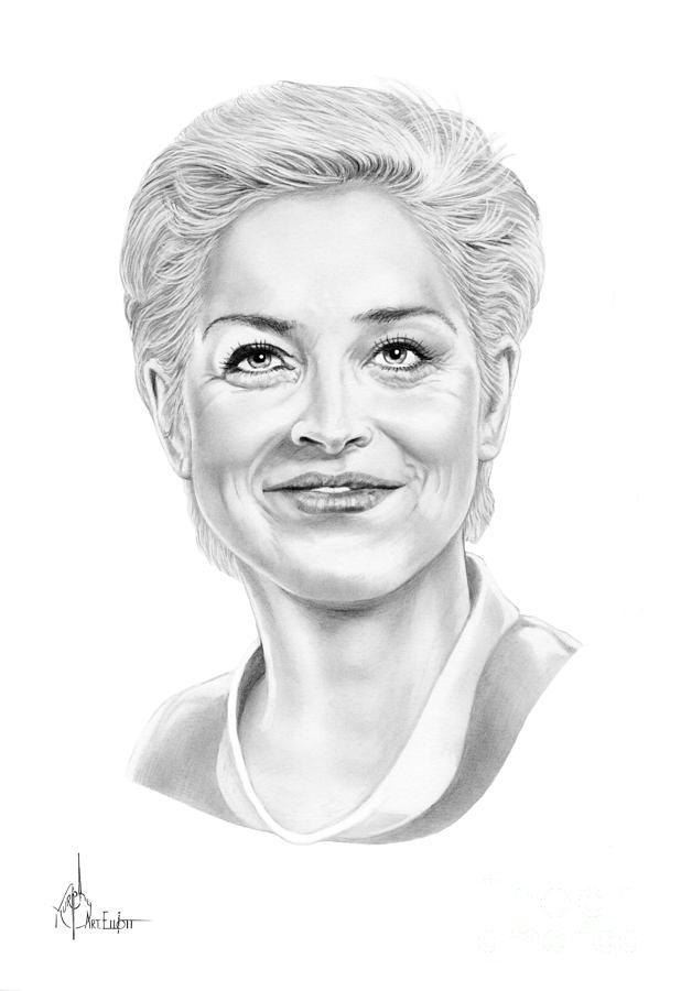 Drawing Drawing - Sharon Stone by Murphy Elliott