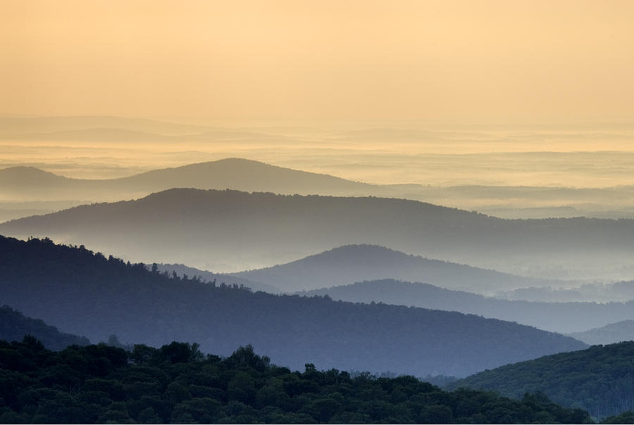 Shenandoah National Park Photograph - Shenandoah National Park Mountain Scene by Brendan Reals