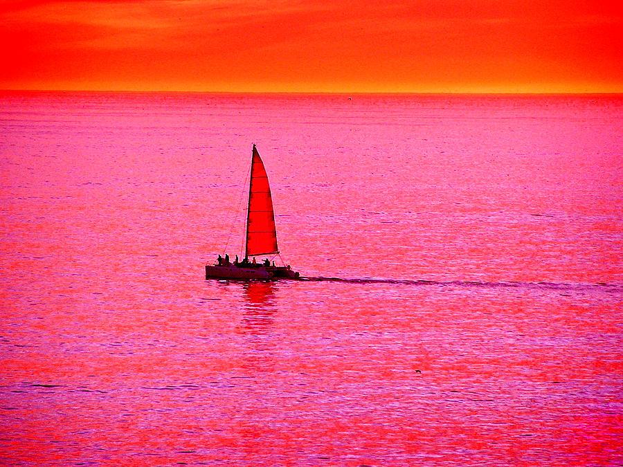 Pink Photograph - Sherbert Sunset Sail by Michael Durst