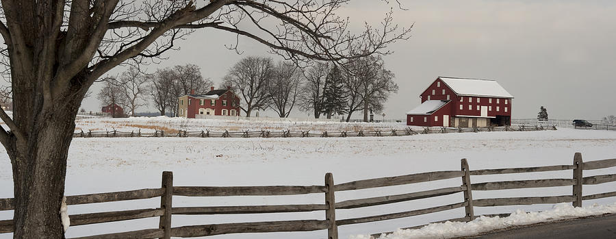 Color Image Photograph - Sherfy Farm In The Snow At Gettysburg by Greg Dale