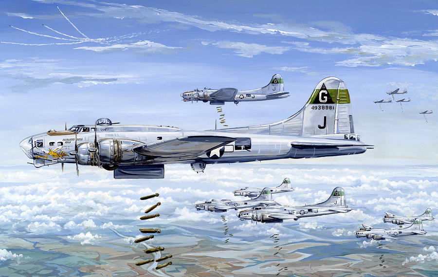 B-17 Painting - Shes A Honey 1 by Charles Taylor