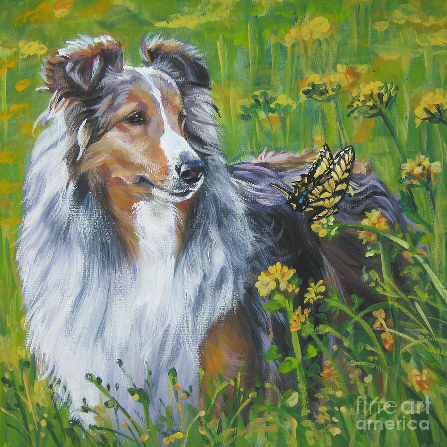 Shetland Sheepdog Wildflowers Painting