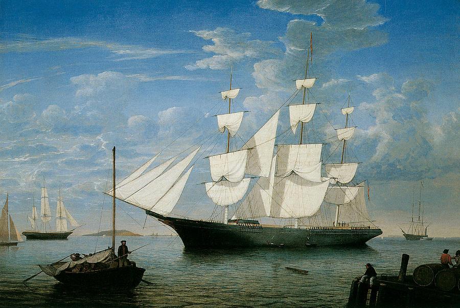 Fitz Hugh Lane Painting - Ship Star Light In Boston Harbor by Fitz Hugh Lane