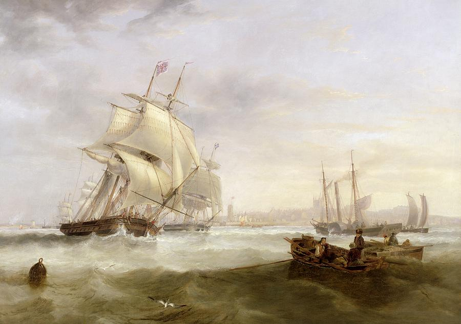 Shipping Off Hartlepool (oil On Canvas) By John Wilson Carmichael (1800-68) Painting - Shipping Off Hartlepool by John Wilson Carmichael