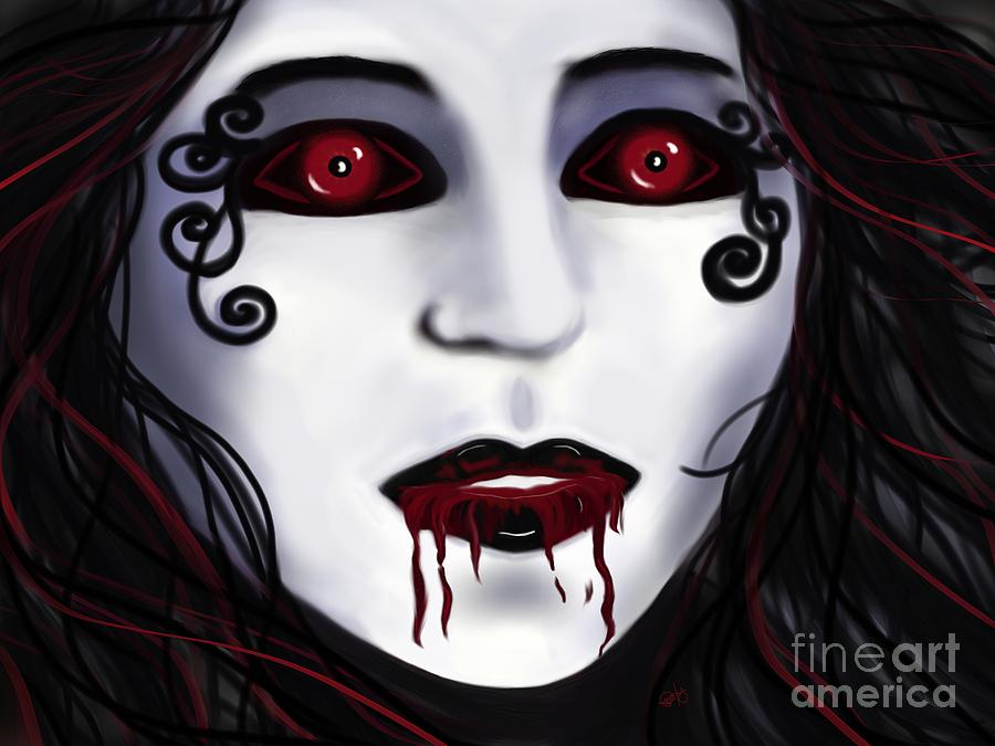 Vampire Painting - Shock At First Bite by Roxy Riou