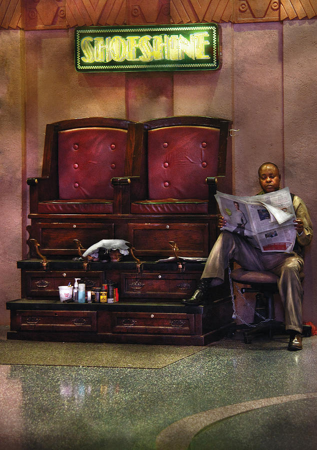 Savad Photograph - Shoes - Lees Shoe Shine Stand by Mike Savad
