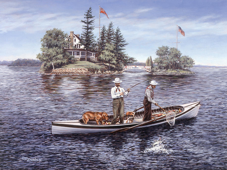 St. Lawrence Skiff Painting - Shore Lunch On The Line by Richard De Wolfe