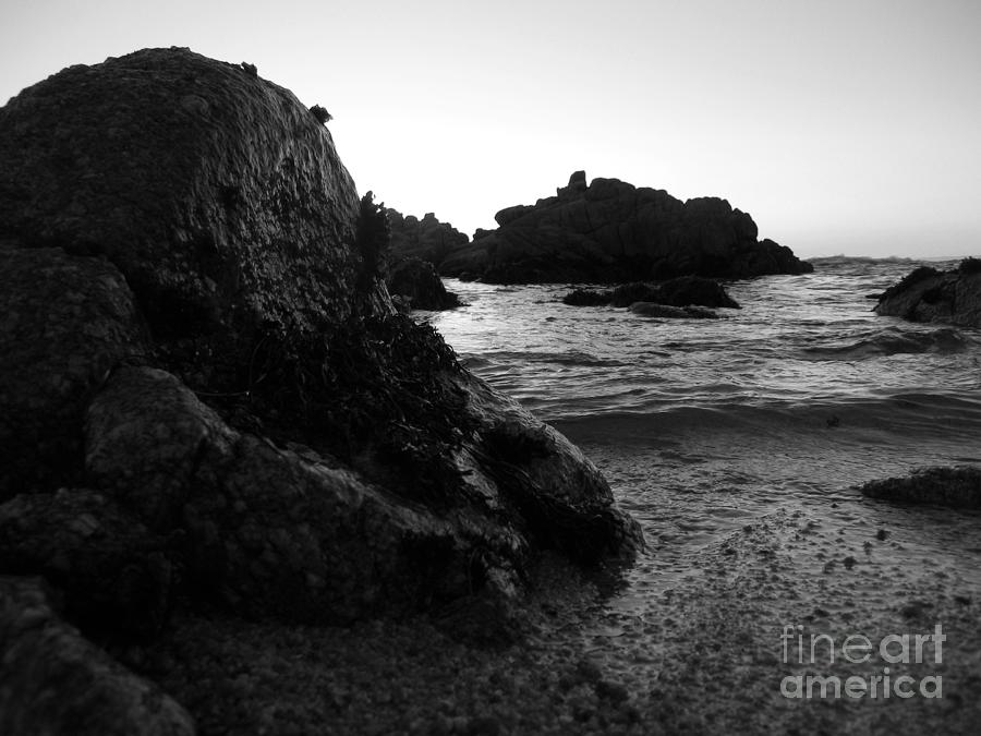 Shoreline Monolith Monochrome Photograph
