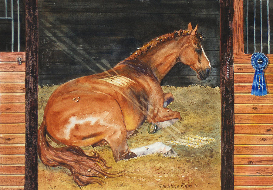 Horse Painting - Show Day Nap by Kristine Plum