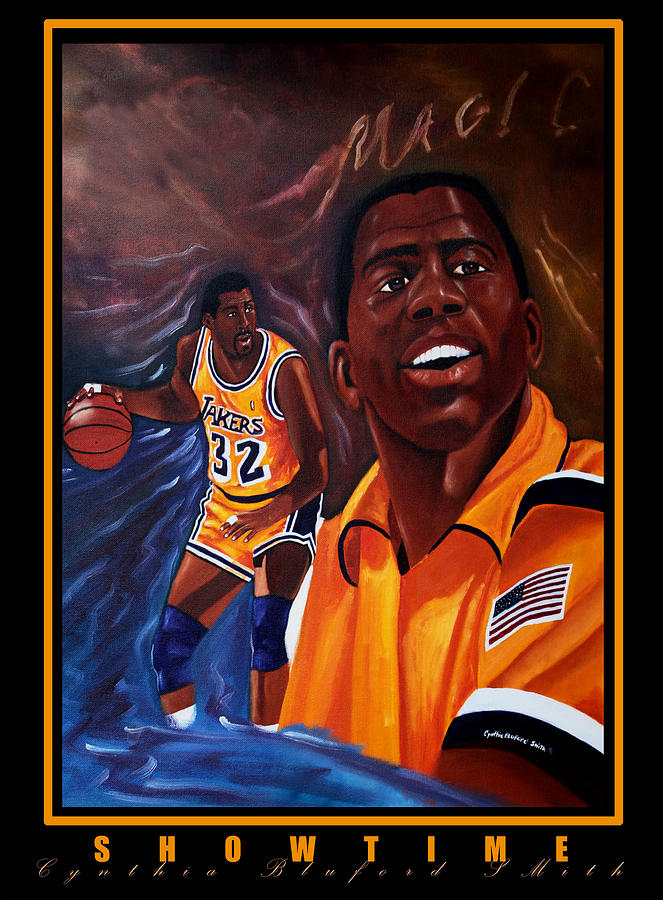 Lakers Painting - Showtime by Cynthia Bluford