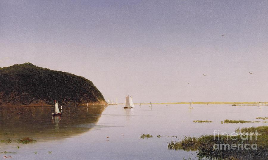 Eastern New Jersey; Monmouth County; View; Boat; Yacht; Landscape; New England; American Landscape; Hudson River School; John Frederick Kensett Painting - Shrewsbury River - New Jersey by John Frederick Kensett