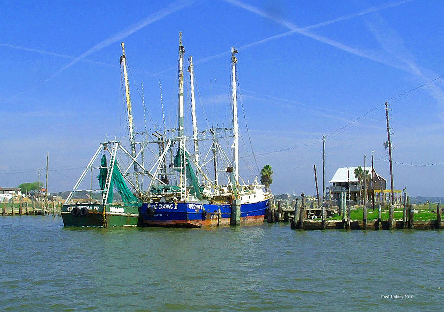 Shrimp Boats Painting - Shrimp Boats Seabrook  by Fred Jinkins