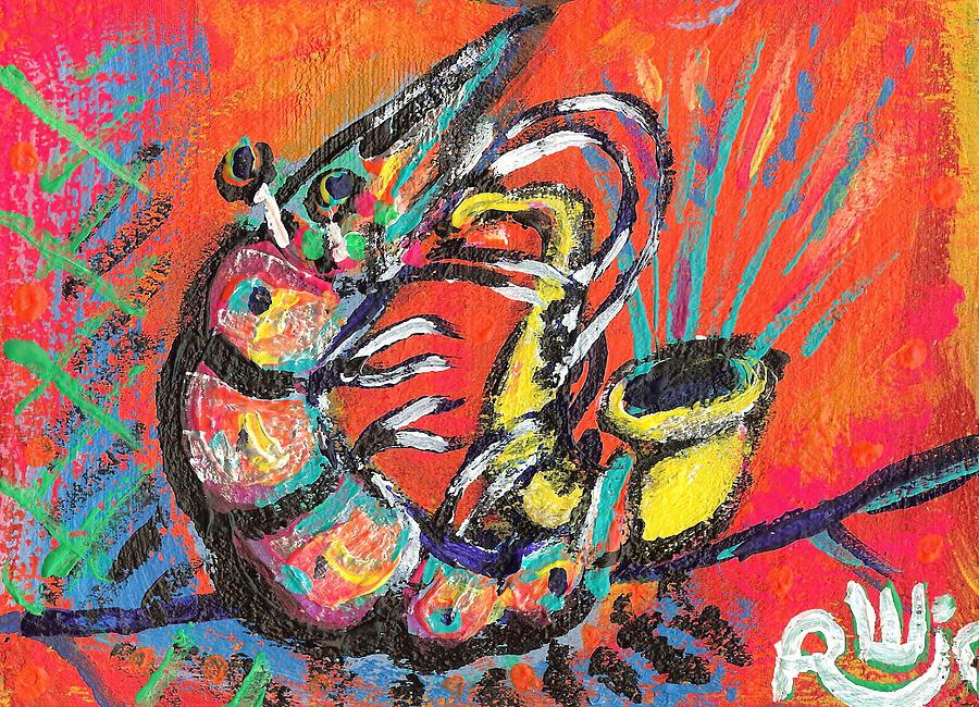 Shrimp Painting - Shrimp On Sax by Robert Wolverton Jr