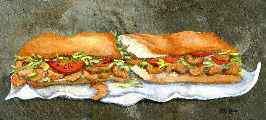 Shrimp Painting - Shrimp Po Boy by Elaine Hodges