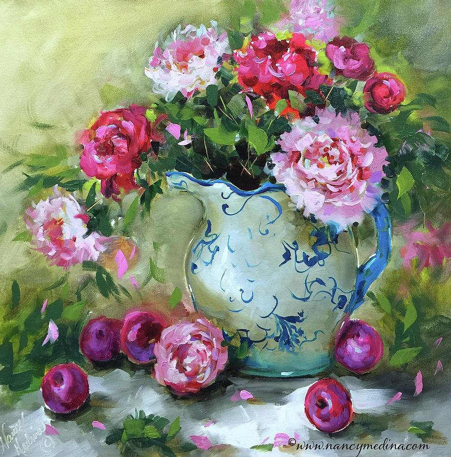 Shy Plums And Pink Peonies Painting By Nancy Medina