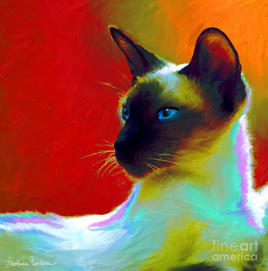 Siamese Cat Art Painting - Siamese Cat 10 Painting by Svetlana Novikova