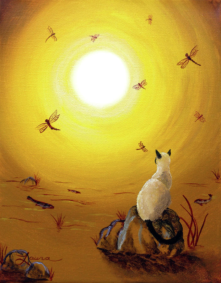 Siamese Cat With Red Dragonflies Painting