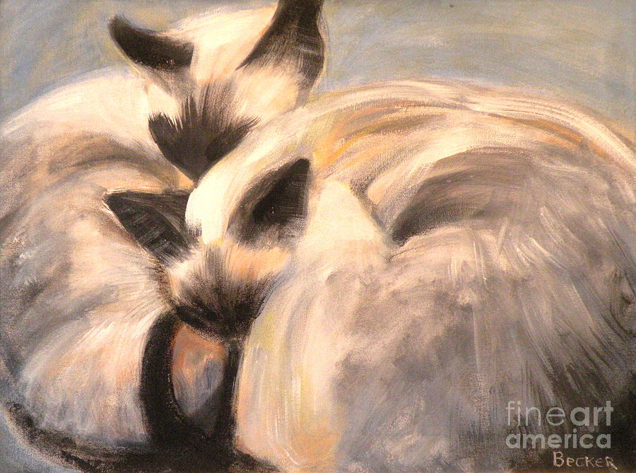 Cat Painting - Siamese Lovers by Susan A Becker