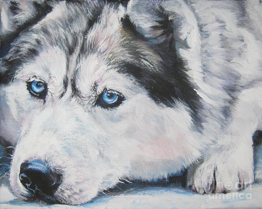 Siberian Husky Up Close Painting