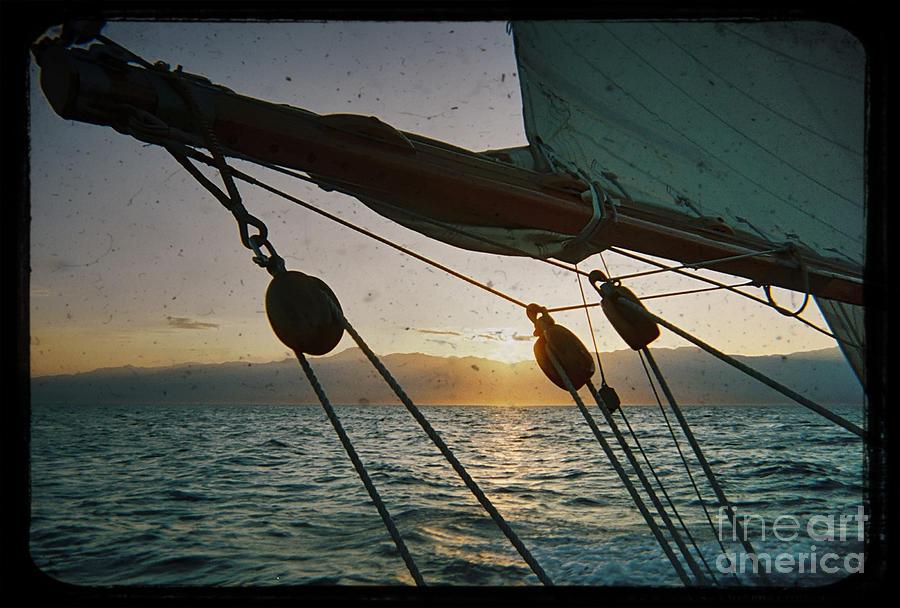 Sicily Sunset Sailboat Harbor Solway Maid Dustin Ryan Water Buildings Black And White Yacht Sail Photograph - Sicily Sunset Sailing Solwaymaid by Dustin K Ryan