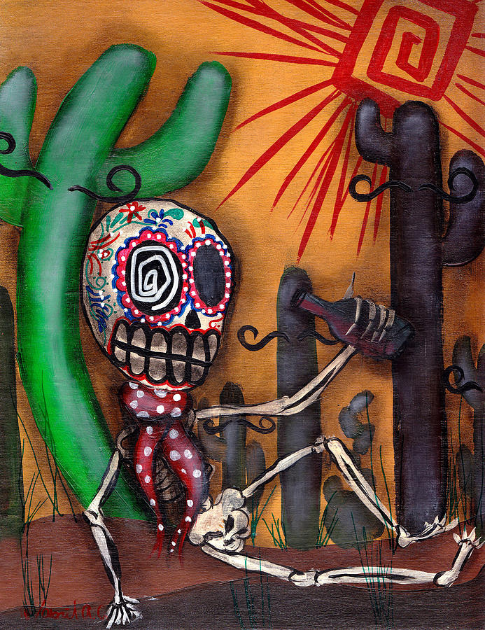 Day Of The Dead Painting - Siesta  by  Abril Andrade Griffith